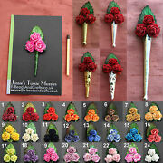 1x 3 Rose Bouquet Tussie Mussie Flowers For Poirot Lapel Pin/brooch Vases