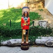John Gallagher Carved Wooden Cigar Store Indian 5 Ft Red Coat Bear Knife Statue