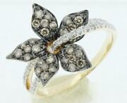 .62ct White And Chocolate Fancy Diamond 14kt Yellow Gold 3d Flower Rose Love Ring