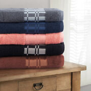 Checkered Border Towel Set Of 6, 550 Gsm Combed Cotton Face, Hand And Bath Towels