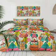 Indian Native Leaves Owl Animal King Queen Twin Quilt Duvet Pillow Cover Bed Set