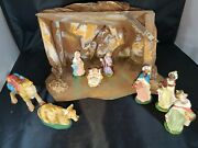Vintage Christmas Nativity Made In Italy Chalkware Set With Unique Stableandnbsp4