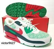 Nike Air Max 90 Nordic Christmas Sweater Red Green Youth 6.5y=mens 6.5/womens 8