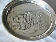 A Fine Antique Solid Silver 880 Oval Dish On 4 Ball Legs People In The Pub S