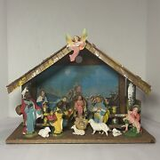 Vintage Italy Nativity Set W/16 Figures And Creche, Hand Painted Composition