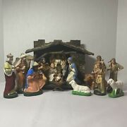 Vintage Early German Nativity W/16 Figures And Creche Hand Painted Papier Mache