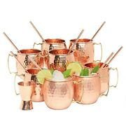Kitchen Science Moscow 8 Mule Copper Mugs16 Ounce With 8 Straws And Jigger Set