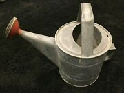Vintage Galvanized Water Can With Brass Sprinkler Nozzle - Holds Water