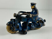 Antique Champion Cast Iron Police Motorcycle Rubber Wheels Toy 4