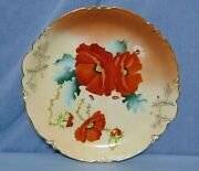 Hand Painted Decorative Plate Charger Red Flowers Gilt Victorian Porcelain 13
