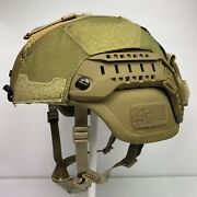 Large Coyote Brown Ach Mich Ech Helmet Cover W/ Counterweight Pouch Hybrid Mesh