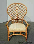Vintage Mid Century Bamboo Rattan Ficks Reed Peacock Accent Wing Back Chair