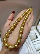 Classic 11-13mm South Sea Drop Gold Pearl Necklace 925srufang