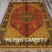 Yilong 6and039x9and039 Handmade Silk Golden Antique Carpet Palace Home Decor Rug G44c