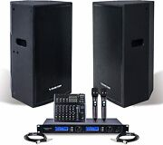 Sound Town Pro Powered Pa Set 12 Powered Speaker Wireless Mic Mixer Cable