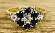 18ct Yellow Gold Large Sapphire And Diamond Cluster Ring- Size N- Sa59