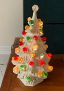 Vintage Ceramic Christmas Tree 12 Holland Mold Lighted White Glass Marbles