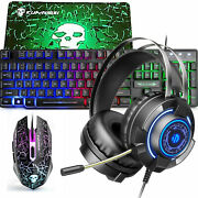 Rainbow Led Backlit Wired Gaming Keyboard Mouse And Headset Set For Pc Ps4 Xbox