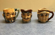 3 Vintage Toby Mugs Made In Occupied Japan 2 Including Pirate