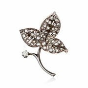 Vintage Diamond Leaf Pin In Sterling Silver And 18kt Gold