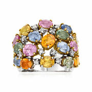 Vintage Multicolored Sapphire And Diamond Ring In 18kt White Gold Size 7.5