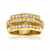 C. 1980 Vintage .75 Ct. T.w. Diamond Section Ring In 18kt Yellow Gold. Size 6.5