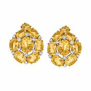 Vintage Citrine And Diamond Earrings In 18kt Two-tone Gold