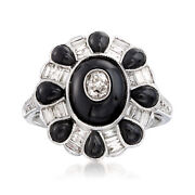 Vintage Black Onyx And Diamond Ring In 18kt White Gold Size 6