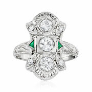 Vintage Diamond Ring With Synthetic Emerald Accents In 18kt White Gold Size 6.5