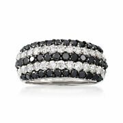 Vintage Black And White Diamond Five-row Ring In 18kt White Gold Size 6