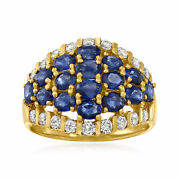 Vintage Sapphire And Diamond Cluster Ring In 18kt Gold Size 7.75
