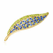 Vintage Sapphire And Peridot Leaf Pin In 18kt Gold