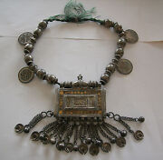 Fine Silversmith Hand Made Heavey Morocco Silver Partly Gold Decorated Necklace