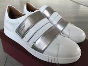 550 Bally Willet White And Silver Leather Sneakers Size Us 10.5 Made In Italy