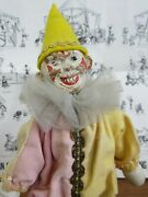 Antique Schoenhut Wooden Jointed Clown Wood Head Yellow Circus Painted Eye M