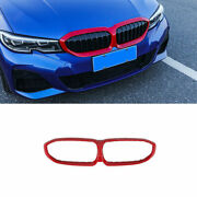 For Bmw 3-series G20 2019-2021 Front Upper Bumper Mesh Grill Grille Frame Red