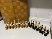 Vintage Mexico Carved Bone Spanish Pulpit Style Chess Set By Frank Pabon