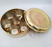 Vintage Brass Spices Tin For Kitchen With Lid 7 Bowl Herb And Spice Containers