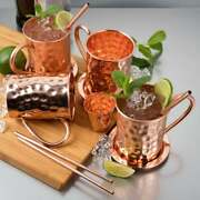 Moscow Mule 4 Copper Mugs 4 Coasters 4 Straws 1 Shot Cup Combo Set For Cocktail