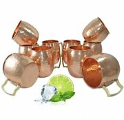Set Of 10 Absolut Vodka Copper Moscow Mule Mugs Bar Liquor Set Made In India