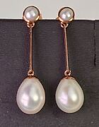 Antique Style 9 Ct Rose Gold Double Pearl Drop Earrings Butterfly Studs 31 Mm