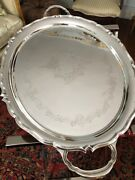 Antique English Sheffield Silver Plate Oval Tray – Hallmarked