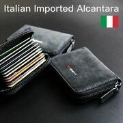 Luxury Unisex Wallet Alcantara Suede Slim Card Thin Wallets Zipper Closure