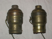 2 Rare Antique Signed Miller Lamps Hubbell Acorn Pull Chain Lamp Sockets Lqqk
