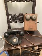 Antique Western Electric Crank Box And Phone
