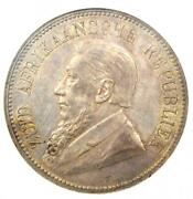 1892 South Africa Zar 5 Shillings Coin Single Shaft 5s - Certified Ngc Au58