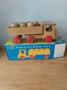 Vintage 1960s Prova Wooden Pull Along Toy Truck With 7 Barrels And Original Box