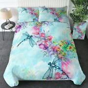 Blue Floral Insect Dragonfly King Queen Twin Quilt Duvet Pillow Cover Bed Set