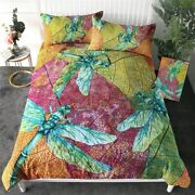 Leaves Insect Spring Dragonfly King Queen Twin Quilt Duvet Pillow Cover Bed Set