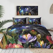 Floral Forest Insect Dragonfly King Queen Twin Quilt Duvet Pillow Cover Bed Set